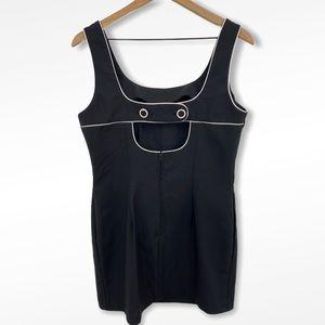 Alyn Paige Black + White Button Cutout Back Dress